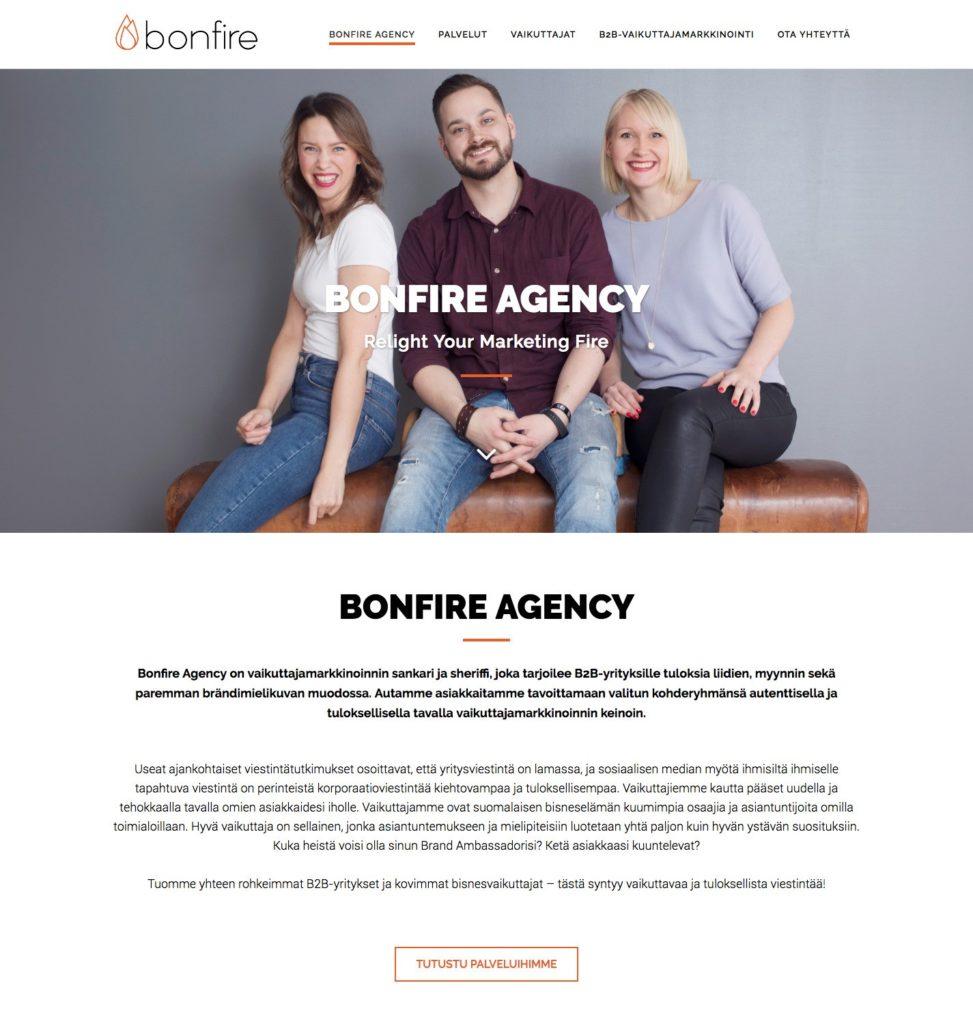 digitaalinen viestintä bonfire mirette kevytyrittäjä