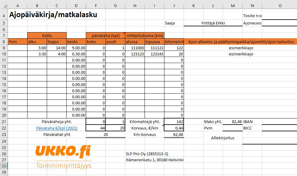 Ajopäiväkirja ja Matkalasku Excel