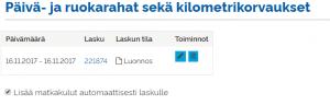 matkakulujen lisääminen laskulle UKKO.fi palvelussa