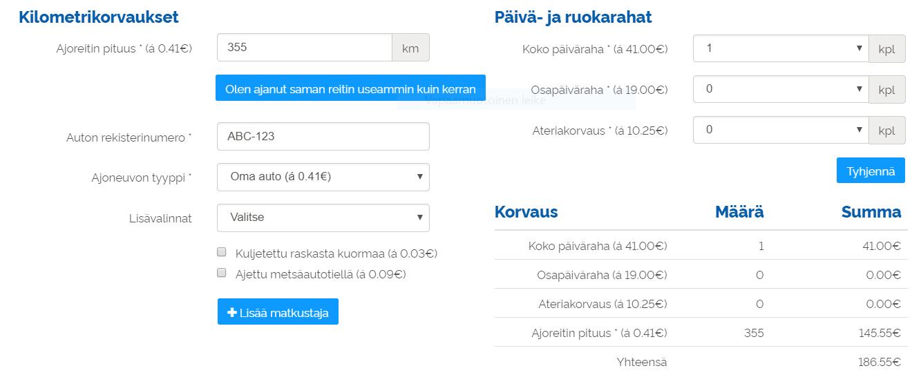 kilometrikorvaukset ja päivärahat UKKO.fi hallintapaneelissa