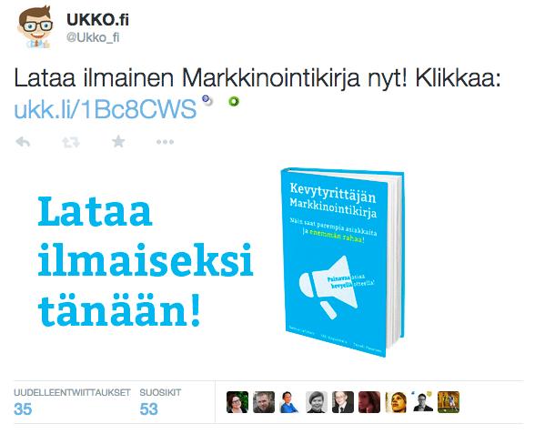 Twitter-mainos kirjasta