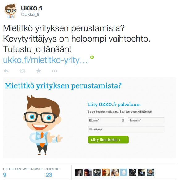 Twitter-mainos yrityksen perustamisesta