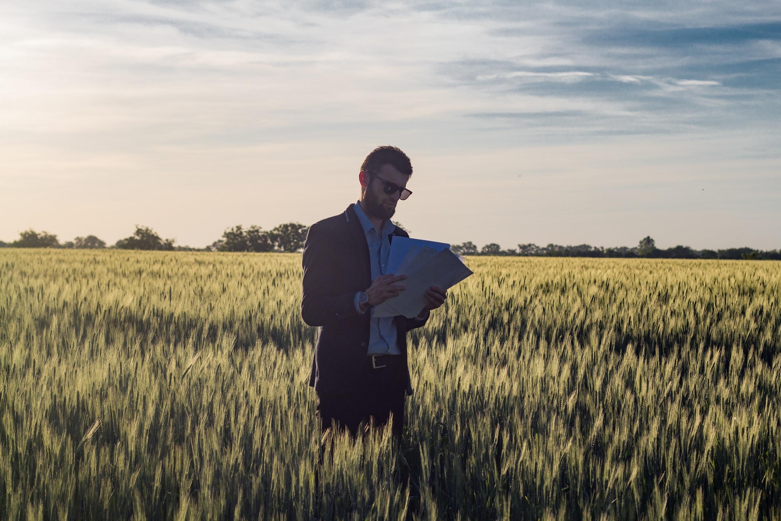 kevytyrittäjän heinäkuu. Pukumies pellolla.